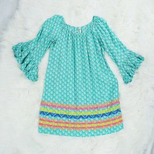 Uncle Frank Turquoise Boho Chevron Dress - Size S